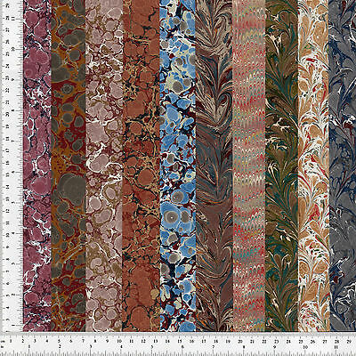 Hand Marbled Paper Set of 10, 10x48cm 3.9x19in Bookbinding Restoration