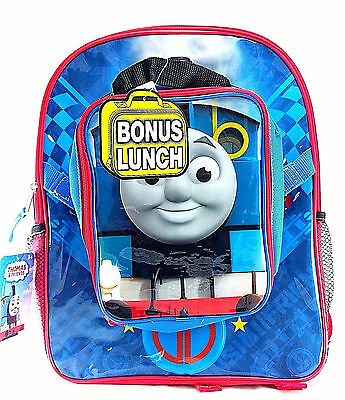 """Thomas the Train & Friends 16"""" Canvas Red & Blue School Backpack With Lunch Bag"""