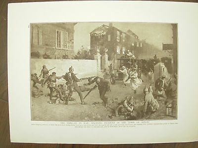 Vintage 1914 Wwi Magazine Print - Germans Under Attack From Turcos In Senlis