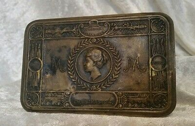 Authentic WW1 British Christmas 1914 Queen Mary Brass Christmas Tin Great War