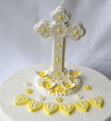Edible large upright standing cross Holy Communion cake topper ( Yellow )