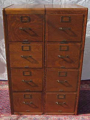 Pair Of Arts & Crafts Tiger Oak Legal Sized File Cabinets - Library Bureau Sole