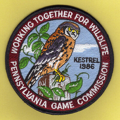 "Pa Pennsylvania Game Fish Commission NEW 4"" 1986 WTFW Kestrel / Hawk  Patch"