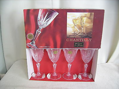 4 New Chantilly Cristal  de France Wine Glasses-24% lead crystal,17.5cl