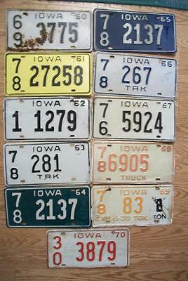 LOT of 11 IOWA LICENSE PLATES 1960 - 1970 - 11 DIFFERENT TYPES - 1 for each year