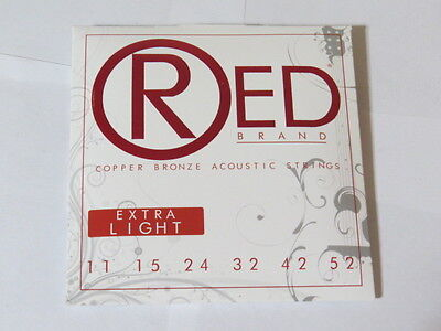 Red Brand Copper Bronze Acoustic Guitar Strings  11-52  FREE SHIPPING CANADA