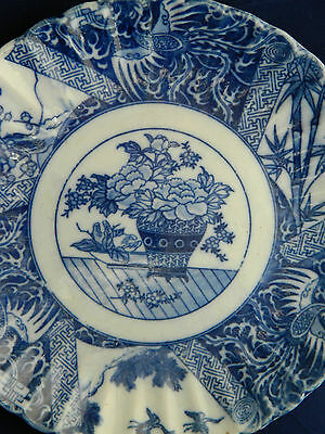 Antique Japanese Imari blue and white pottery plate