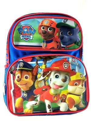 """New Nickelodeon Paw Patrol Chase, Marshall 12"""" Canvas Blue & Red School Backpack"""