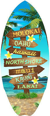 Hawaiian Mini Surfboard Wood Surf Hawaii Islands Sign Aloha Tiki Home Decor NIB