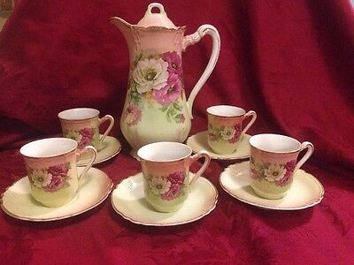 Antique Victorian Hand Painted Porcelain Chocolate Pot Set With 5 Cups & Saucers