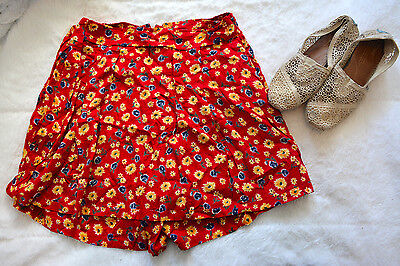 Vintage At Last Co SKORT Large 90s WRAP SKIRT High Waisted Shorts RED FLORAL #bo