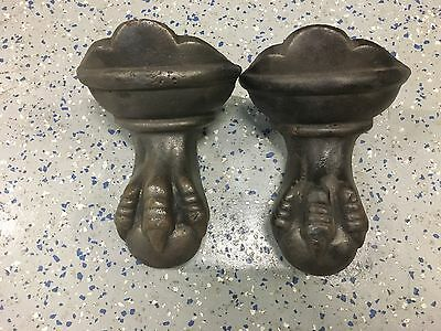 Lot Of 2 Antique Cast Iron Victorian Ball & Claw Foot Eagle  Bath Tub Leg Feet