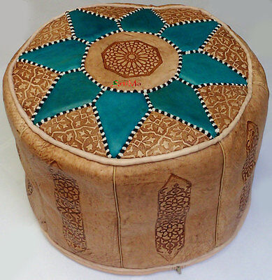 Moroccan handmade leather Pouf Ottoman Poof Pouffe hassock
