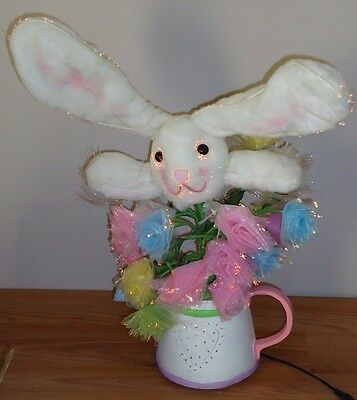 """Fiber Optic Bunny in Watering Can Easter light up decoration w/Box 17""""H."""