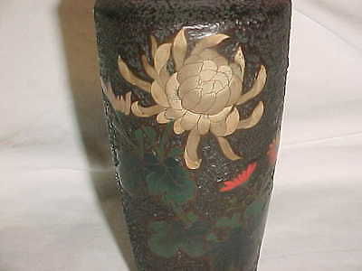 Signed Late Meiji-Period Japanese Tree Bark Jiki Totai Shippo Cloisonne Art Vase