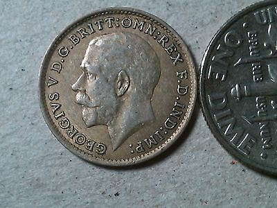 Great Britain 3 pence  threepence 1921 George V silver