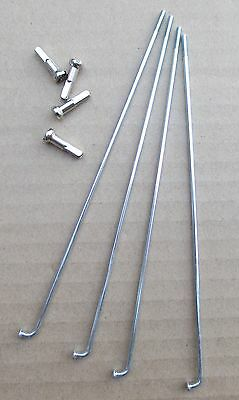Bicycle Spokes 14g Steel Chrome with Nipples Various Sizes Sold by 4's
