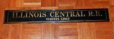 Illinois Central RailRoad RR Reverse Painted Glass Sign Whites Only