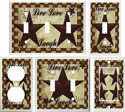 Primitive Barn Star Live Love Laugh Light Switch Cover Plate Or Outlet V250