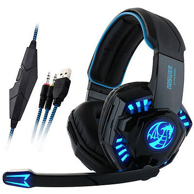 Noswer Pro Gaming Headset LED Earphone Headphone with Microphone For Gamer Black
