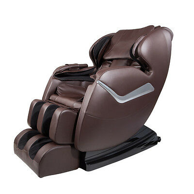 NEWEST Electric Full Body Massage Chair Shiatsu Heating Recliner Foot Rest Brown