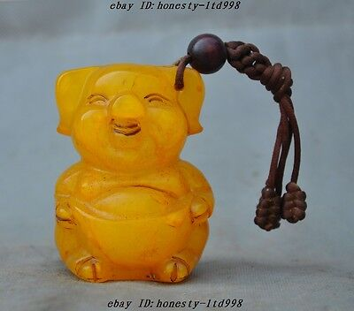 Rare Old China Tianhuang Shoushan Stone Carved yuanbao Pig Amulets lucky Pendant