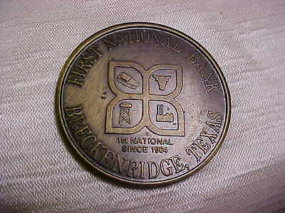 The First National Bank of Breckenridge Texas 1979 Souvenir Token Coin75th anniv