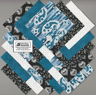 "25~5"" Blue & Black Geometric Fabric Squares/Quilt/Craft/Sew/Charm Packs #5896"