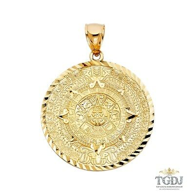 14K Yellow Gold  Calendario Azteca Pendant,Height:40 MM Width:40 MM