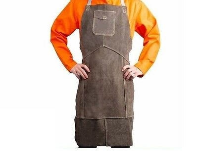 Welding Apron Workwear Utility Premium Durable Bib Split Leather Heat Protective