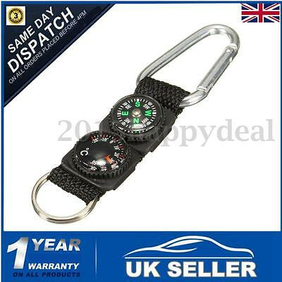 3 in 1 Carabiner Keychain Compass & Thermometer Outdoor Hiking Travel Camping UK