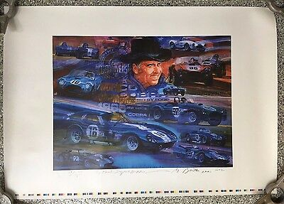 Carroll Shelby World Champion 1965 George Bartell Signed Artist Poster Print