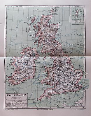 1895 GROSSBRITANNIEN United Kingdom alte Landkarte Karte antique map Litho