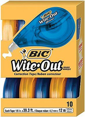 BIC Wite-Out Brand EZ Correct Correction Tape, 10-Count [WOTAP10- WHI] NEW