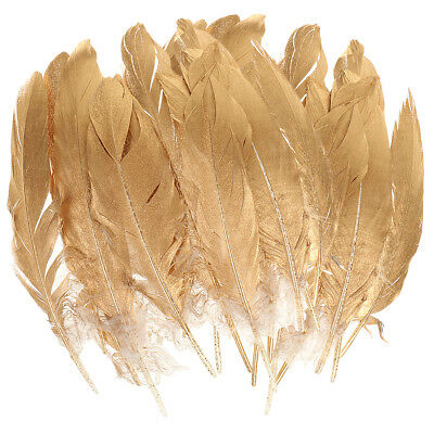 24pcs Gold Goose Feather Ribbon Trim Sewing for DIY Crafts Millinery Costume