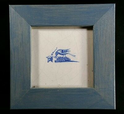 17th Century Delft Blue Dutch Tile of Bird & Grapes Framed with COA on Back