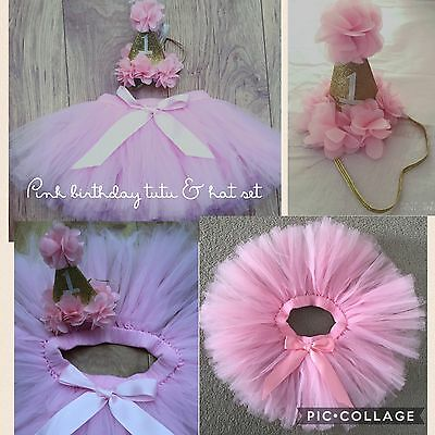 Baby Girls 1st First Birthday Deluxe Outfit Cake Smash Tutu Skirt & Hat Set Pink