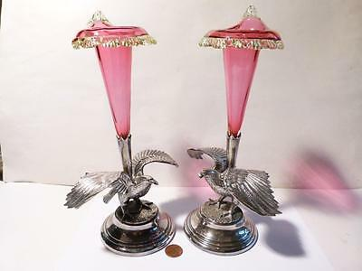 Antique 19thC Pair EAGLE EPERGNE Centre Pieces Cranberry Glass, Silver Plated