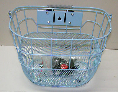 Bicycle Front Wire Mesh Basket with Quick Release Bracket & Carry Handle, Blue