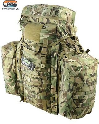 Tactical Rucksack 90 Litre Assault Bergen & Side Pouches Mtp Btp British Army