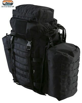 Tactical Rucksack 90 Litre Assault Bergen & Side Pouches Black British Army