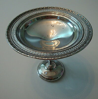 Vintage Sterling Silver Lion E Hallmark Weighted Reinforced Pierced Compote Bowl