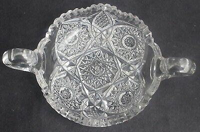 Antique American Brilliant Period Cut Glass Double Handled Star Cut Nappy Bowl