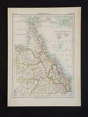 OLD VINTAGE MAP of QUEENSLAND & COUNTIES AUSTRALIA - ANTIQUE COLOUR PRINT c1910