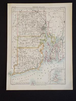 OLD VINTAGE MAP of RHODE ISLAND/PROVIDENCE U.S.A - ANTIQUE COLOUR PRINT c1910