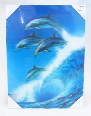 Dolphins Sea Wave 3D Canvas Wall Picture Dolphin Poster Art Print Hang Decor A3