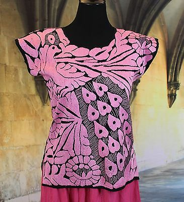 Hand Embroidered Huipil / Blouse Black & Pink Peacock, Jalapa Mexican, Hippie