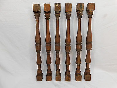 Six Antique Victorian Railing Balusters - C. 1890 Oak Architectural Salvage