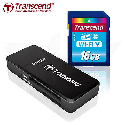 Transcend 16GB Wi-Fi SDHC Wireless LAN Memory Card +Card Reader Tracking include