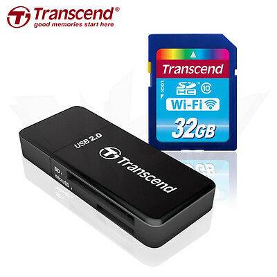 Transcend 32GB Wi-Fi SDHC Wireless LAN Memory Card +Card Reader Tracking include